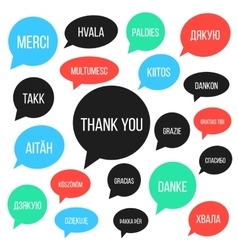 white thank you lettering in different languages vector image