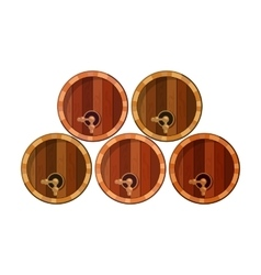 Wine barrels icon in cartoon style isolated on vector