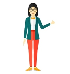 Woman showing thumbs up vector image