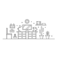 workplace line art black and white vector image