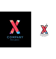 x blue red letter alphabet logo icon design vector image