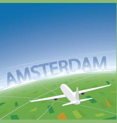 Amsterdam flight destination vector