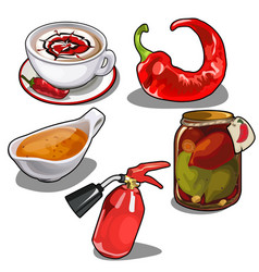 chile pepper in different forms fire extinguisher vector image vector image
