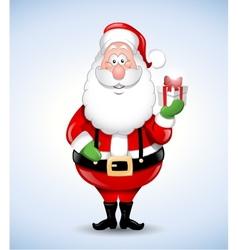 Happy cartoon Santa Claus holding a gift vector image vector image