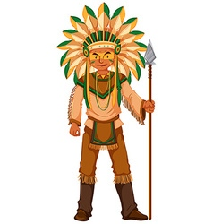 Native American Indian holding spear vector image vector image