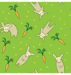 Rabbit seamless pattern green color vector image vector image