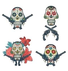 Set of hand drawn skulls with flowers and guns vector image vector image