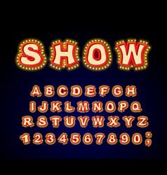 show font glowing lamp letters retro alphabet vector image