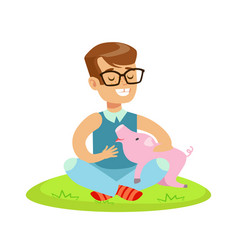 smiling little boy sitting on green grass and vector image