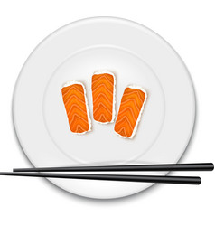 White plate with sushi and chopsticks vector image vector image