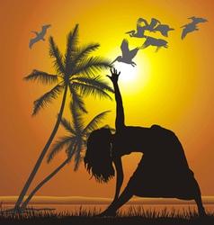 Yoga on the beach vector image
