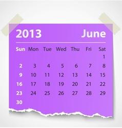 2013 calendar june colorful torn paper vector image