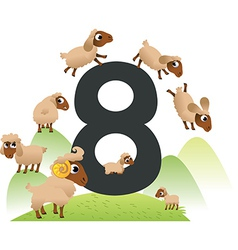 Collection number for kids farm animals - number 8 vector image