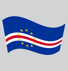 flag of cape verde waving on gray background vector image