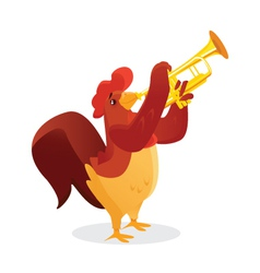 Musical animals Rooster Trumpet vector image vector image