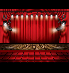 red stage curtain with spotlights seats and copy vector image vector image