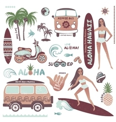 Set of vintage style Hawaiian summer icons surf vector image vector image