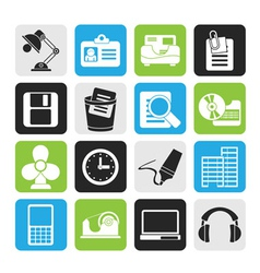 Silhouette Office and business icons vector image