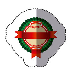 color round emblem with ribbon icon vector image vector image