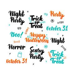 happy halloween lettering set vector image