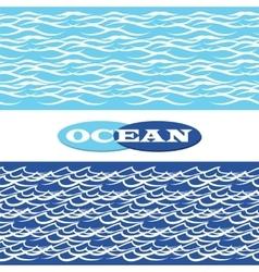 Ocean waves seamless borders vector image