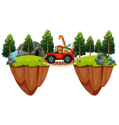 scene with wild animals in the jeep vector image vector image