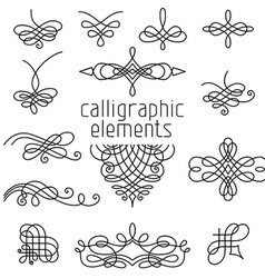 Set of calligraphic design elements isolated on vector