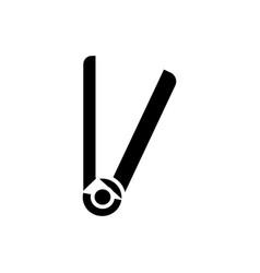 hair straightener icon black vector image vector image
