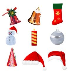 set of realistic christmas icons on white backgrou vector image