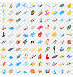 100 coast icons set isometric 3d style vector image
