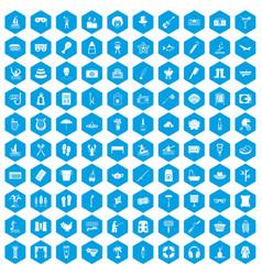 100 recreation icons set blue vector
