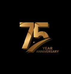 75 years gold elegant anniversary celebration vector