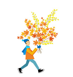 A man carrying a autumn leaves bouquet vector