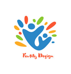 abstract family with kid icon together vector image