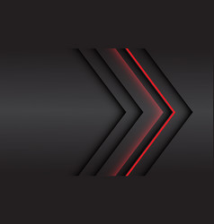 Abstract red light arrow direction on grey metal vector