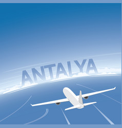 Antalya skyline flight destination vector