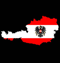 Austrian flag and map vector