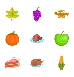 Autumn festival icons set cartoon style vector image