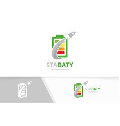 battery and rocket logo combination energy vector image