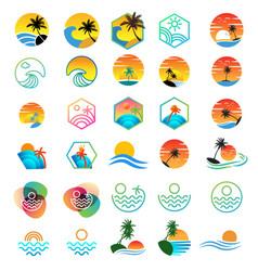 beach sunset logo design holiday logo collection vector image