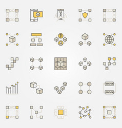 Blockchain colorful icons vector