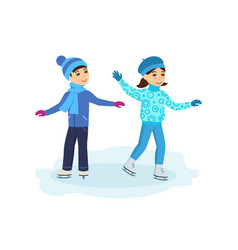 Boy with the girl ride on ice in good mood vector