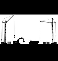 building site with detailed silhouettes of vector image