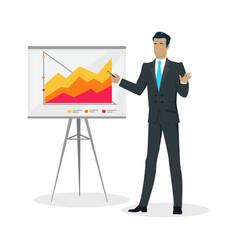 Businessman making a presentation near whiteboard vector