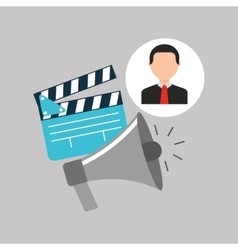 Businessman movie megaphone clapper icons vector