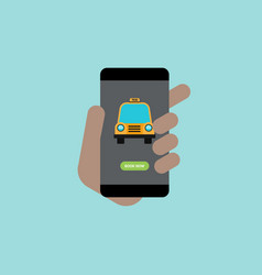 call taxi using smartphone application flat vector image