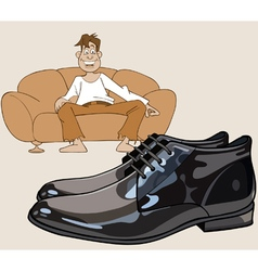 cartoon man sitting on the couch looking at shoes vector image