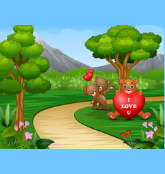 Cartoons of some bears on valentines day vector