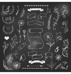 chalk catchwords ribbons ampersands design vector image