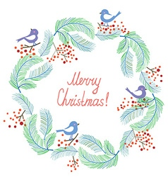 Christmas card with wreath and birds retro design vector